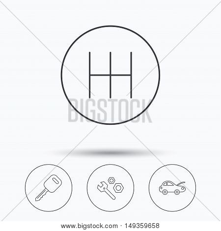 Car key, repair tools and manual gearbox icons. Car repair, transmission linear signs. Linear icons in circle buttons. Flat web symbols. Vector