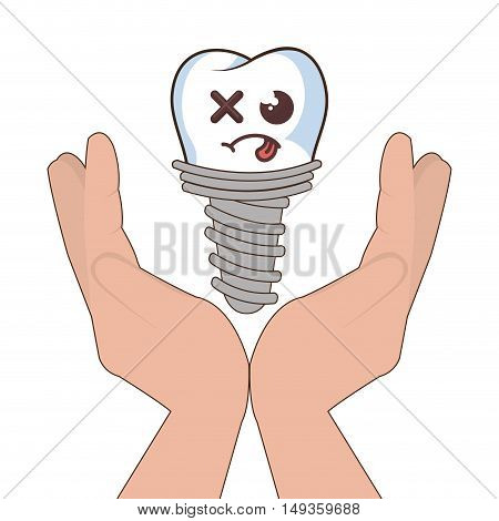hands holding a human tooth with sad expression face cartoon. vector illustration