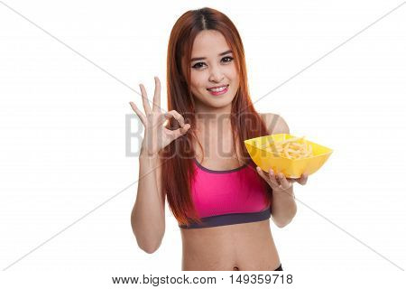 Asian Healthy Girl Eat  French Fries Show Ok Sign.