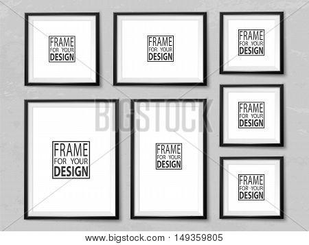 Frames Wall Gallery Grunge Light Grey Vector Mock Up