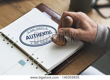 Authentic Veritable Value True License Genuine Concept