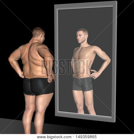 Concept or conceptual 3D illustration fat overweight vs slim fit with muscles young man on diet reflecting in a mirror