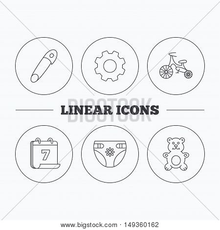 Bear toy, diapers and first bike icons. Pin linear sign. Flat cogwheel and calendar symbols. Linear icons in circle buttons. Vector