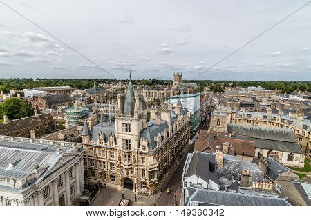 High angle view of the city of Cambridge UK