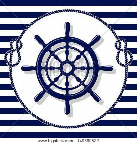 Blue helm and rope frame on lines background vector illustration