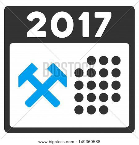 2017 Working Days icon. Glyph style is flat iconic symbol on a white background.