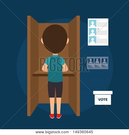 avatar man voting political elections. vote icons. colorful design vector illustration