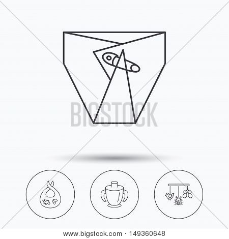 Diapers, child mug and baby toys icons. Dirty bib linear sign. Linear icons in circle buttons. Flat web symbols. Vector