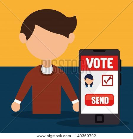 avatar man and smartphone with vote ballot on screen. colorful design. vector illustration