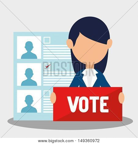 avatar woman with vote sign and political candidates paper ballot. colorful design. vector illustration