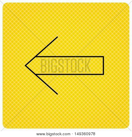 Back arrow icon. Previous sign. Left direction symbol. Linear icon on orange background. Vector