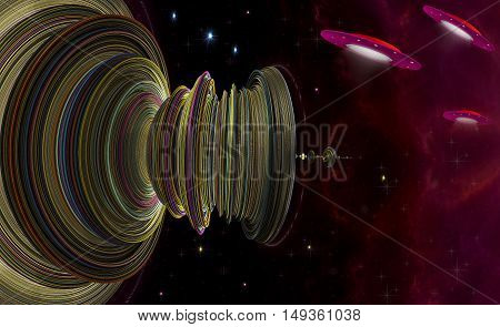 Science fiction. Abstract 3D illustration on the theme of space planetary stations starships and stars