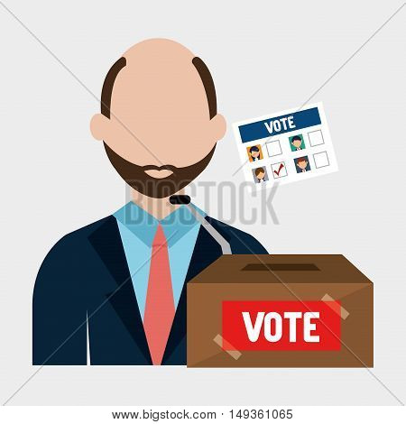 avatar man with  vote carton box and political candidates paper ballot. colorful design. vector illustration