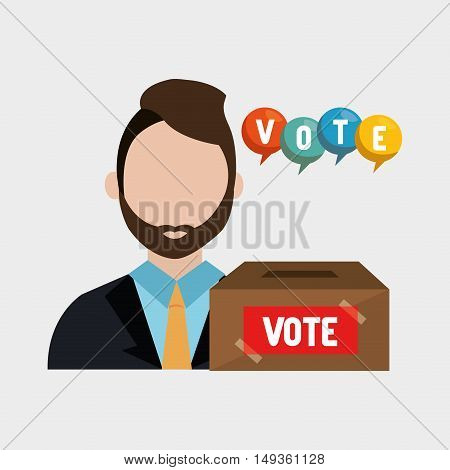 avatar man wearing suit and tie with  vote carton box. colorful design. vector illustration
