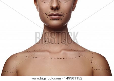 Young female Model with dashed Line on Body and Face