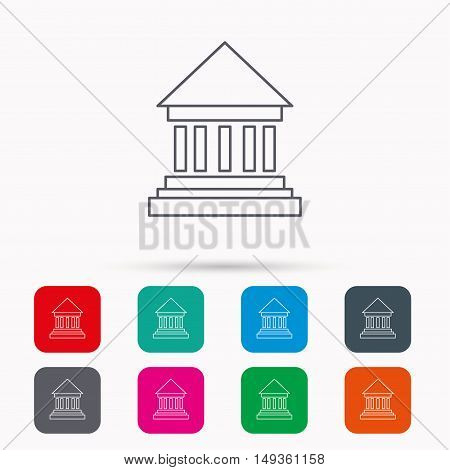 Bank icon. Court house sign. Money investment symbol. Linear icons in squares on white background. Flat web symbols. Vector