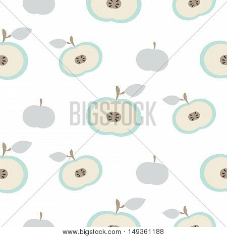 Simple apple light blue fruit repeating pattern. Scandinavian simple white style vector background.