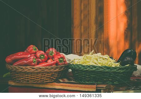 Organic vegetables on traditional market stand. Healthy eating and raw food concepts.