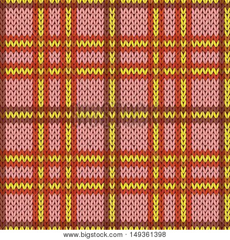 Knitting Seamless Pattern In Warm Colors