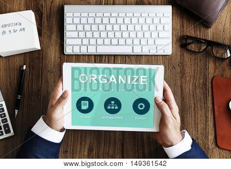 Organize Website Development Data Network Concept