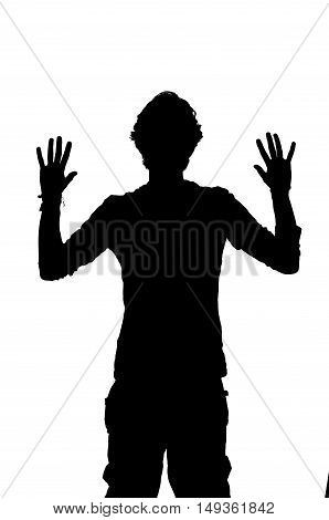 silhouette of a man being robbed with hands up