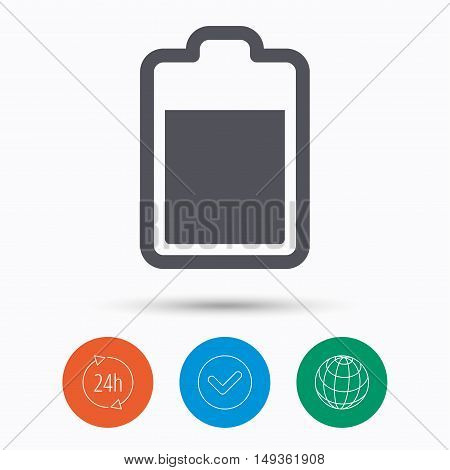 Battery power icon. Charging accumulator symbol. Check tick, 24 hours service and internet globe. Linear icons on white background. Vector