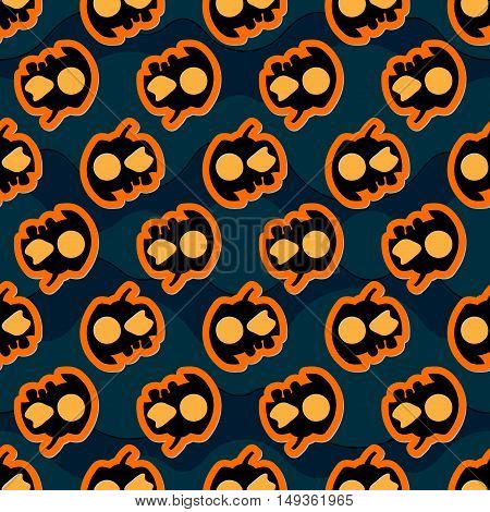 seamless pattern wrapping paper - halloween black orange pumpkins with cap two orange eyes and three teeth on a dark blue waving background