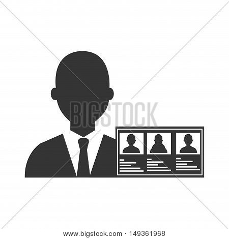 avatar man with vote sign and political candidates paper ballot silhouette. vector illustration