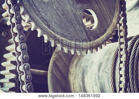 Vintage Toned Old Gear Wheels, Industrial Background.