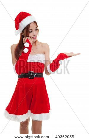 Asian Christmas Santa Claus Girl  Present Space On Her Hand.