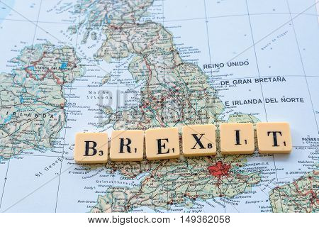 London UK - June 12 2016: Brexit word on UK map. The United Kingdom European Union membership referendum on 23 June 2016