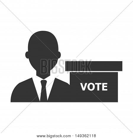avatar man wearing suit and tie and voting carton box  silhouette icon. vector illustration