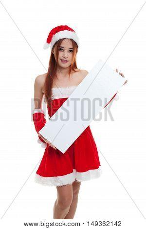 Asian Christmas Santa Claus Girl With Blank Sign.