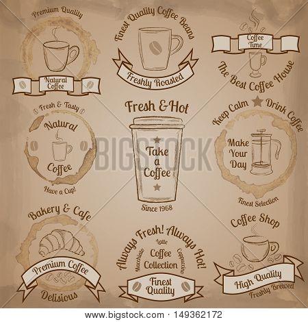 Set of brown vintage coffee badges on beige background vector illustration