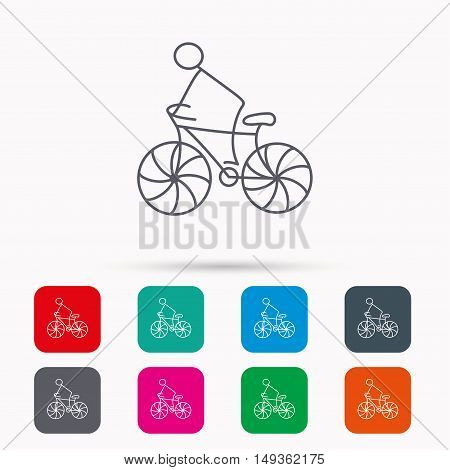 Biking sport icon. Bicycle race sign. Professional cyclist symbol. Linear icons in squares on white background. Flat web symbols. Vector