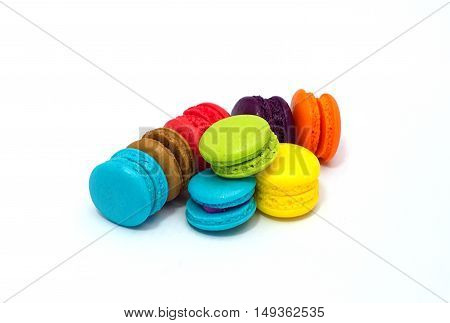 Rainbow color of small Buttercream Macaron on white background
