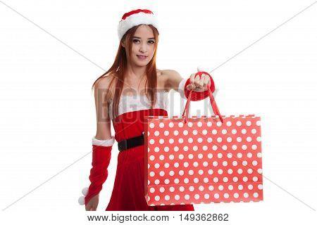 Asian Christmas Santa Claus Girl With Shopping Bags.
