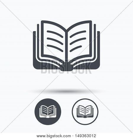 Book icon. Study literature sign. Education textbook symbol. Circle buttons with flat web icon on white background. Vector