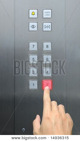 businessman hand press 2 floor in elevator