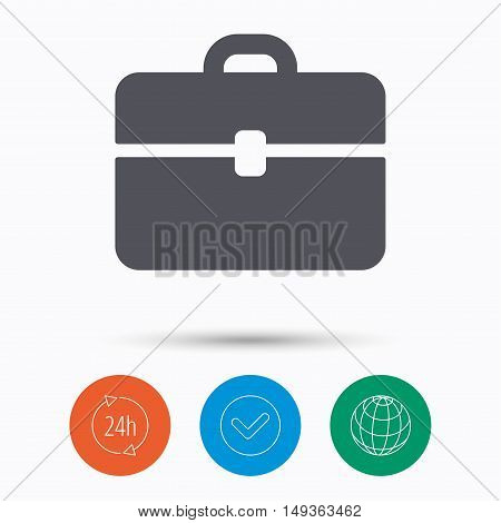 Briefcase icon. Diplomat handbag symbol. Business case sign. Check tick, 24 hours service and internet globe. Linear icons on white background. Vector