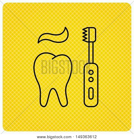 Brushing teeth icon. Electric toothbrush sign. Toothpaste and tooth symbol. Linear icon on orange background. Vector