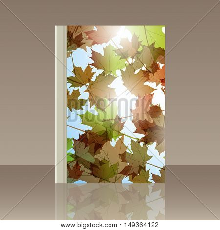 Book autumn still life. Maple leaves. Vector background