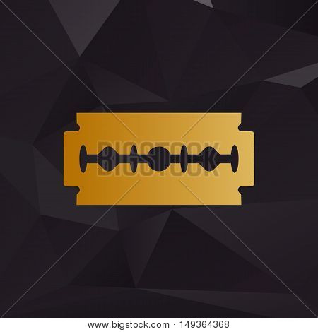Razor Blade Sign. Golden Style On Background With Polygons.