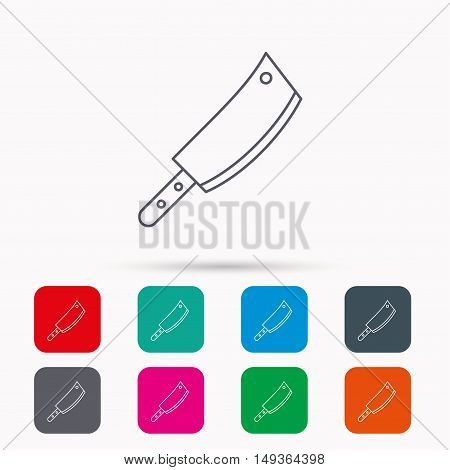 Butcher knife icon. Kitchen chef tool sign. Linear icons in squares on white background. Flat web symbols. Vector
