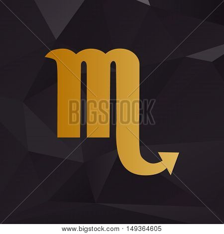 Scorpio Sign Illustration. Golden Style On Background With Polygons.