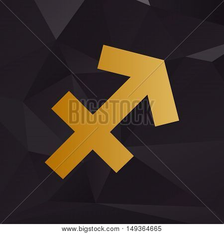 Sagittarius Sign Illustration. Golden Style On Background With Polygons.