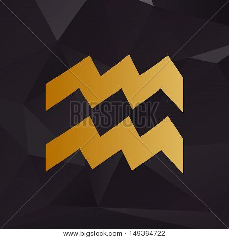 Aquarius Sign Illustration. Golden Style On Background With Polygons.