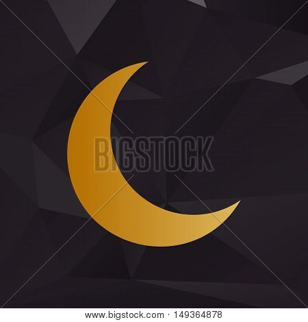 Moon Sign Illustration. Golden Style On Background With Polygons.