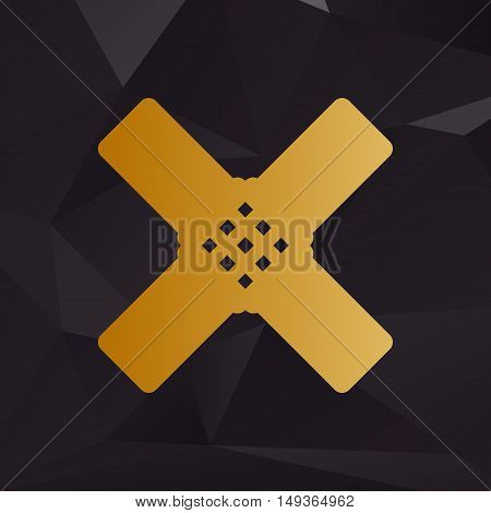 Aid Sticker Sign. Golden Style On Background With Polygons.