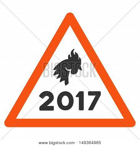 2017 Rooster Warning icon. Glyph style is flat iconic symbol on a white background.